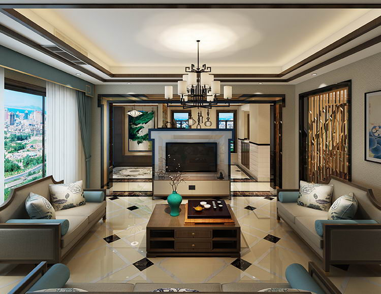 中航翡翠城230平米四室新中式风格