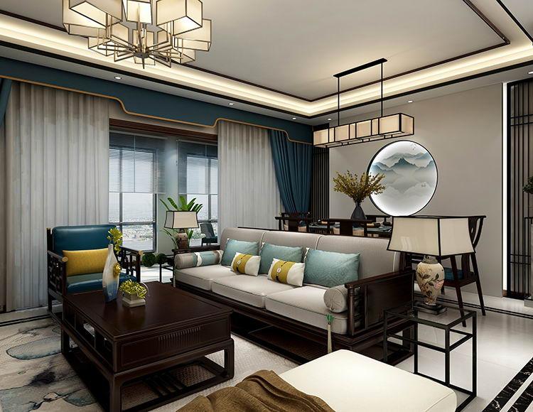 阳光城120平米三室一厅新中式风格