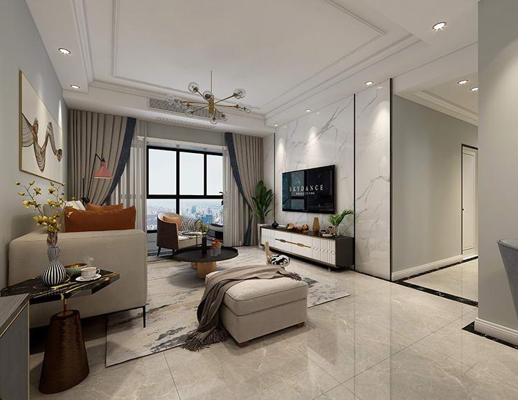 拉菲公馆88平米三室两厅现代轻奢风格